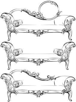 풍부한 바로크 장식 요소 벡터와 소파 또는 벤치 세트 컬렉션입니다. 왕실의 빅토리아 스타일