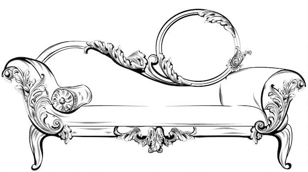 풍부한 바로크 장식 요소 벡터와 소파 또는 벤치. 왕실의 빅토리아 스타일