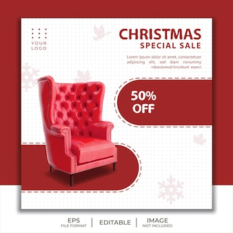Sofa sale template social media post christmas