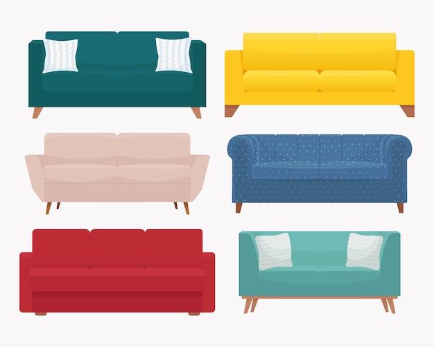 ソファセット。スタイリッシュでモダンな居心地の良いソファのコレクション。フラットスタイルのイラスト、白い背景で隔離