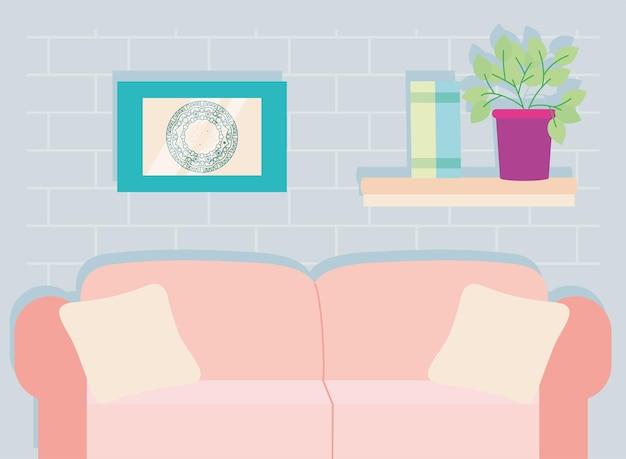 Sofa and shelf livingroom scene