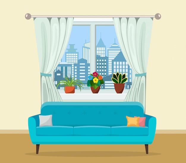 Диван с подушками и окном с растениями.