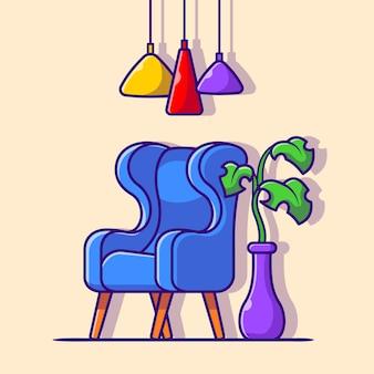 植物と光の漫画ベクトルアイコンイラストとソファ。インテリアハウスアイコンコンセプト分離プレミアムベクトル。フラット漫画スタイル