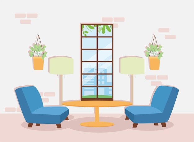 ソファとテーブルのリビングルームのシーン