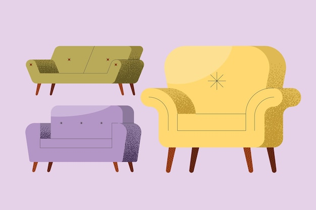 Sofas furniture set three icons