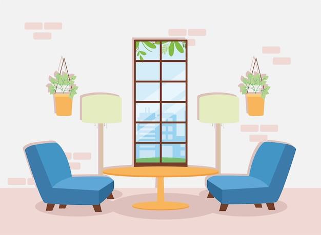 Sofas and table livingroom scene