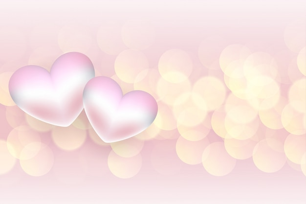 Soft 3d hearts valentines day bokeh background