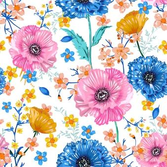 Мягкие и свежие цветущие сладкие садовые цветы красочные цветы флора ботанический бесшовный фон