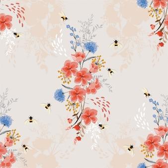 柔らかく、優しいエレガントなシームレス花柄、蜂と庭の花のパターン。手描きスタイル。