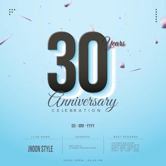 30주년 축하 초대장을 위한 부드러운 배경 에디션