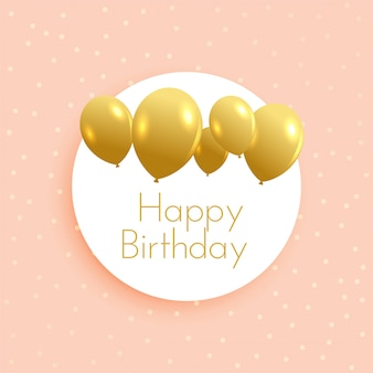 Soft birthday background with golden balloons