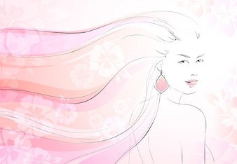Soft bloom background with young girl and long wavy hairs vector illustration