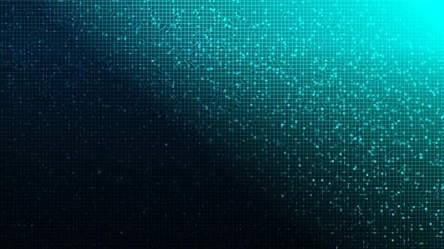 기술 배경에 소프트 블루 디지털 회로 마이크로 칩.