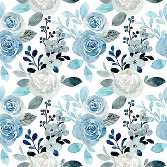 Soft blue floral watercolor seamless pattern