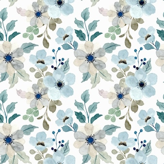 Soft blue gray floral watercolor seamless pattern