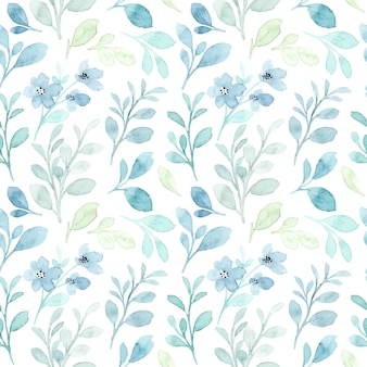 Soft blue leaves watercolor seamless pattern