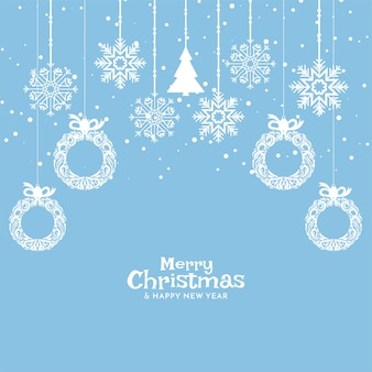 Soft blue merry christmas celebration background design