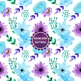 Soft blue purple watercolor seamless pattern