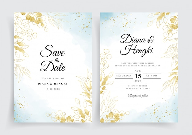 Soft blue on wedding card with gold eucalyptus