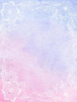 라인 아트 꽃과 부드러운 밝은 프레임 수채화 배경