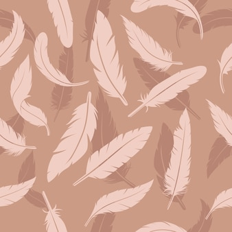 Soft brown color feather seamless pattern template
