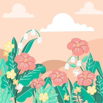 柔らかく穏やかな春の庭の背景テンプレート落書き描かれたイラスト