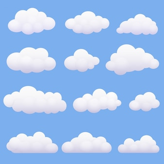 Soft cartoon clouds set on the blue background.