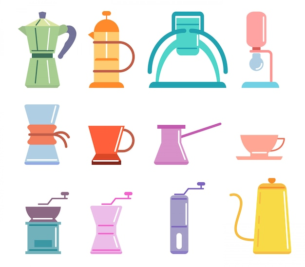 Soft color flat coffee manual brewers set