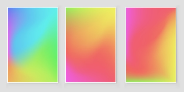 Soft color mesh gradient background set. abstract vector design.