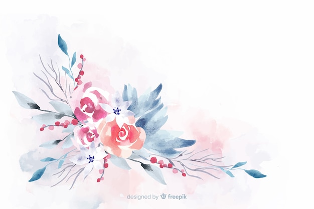 Soft-colored watercolor floral background