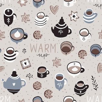 柔らかな色の冬の抱擁シームレスパターンイラスト