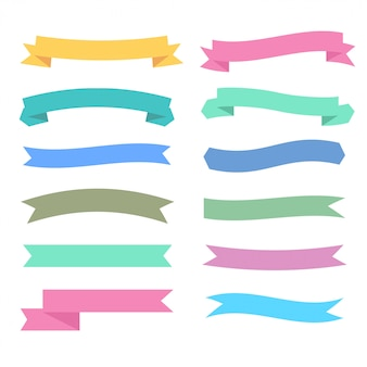 Soft colors ribbons set in different styles