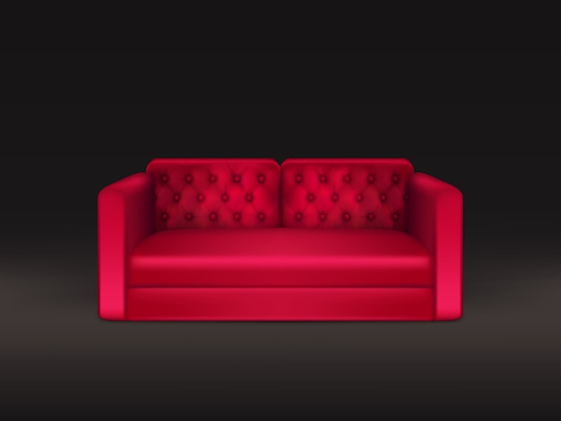 Soft and comfortable, classic design sofa with red leather or fabric upholstery