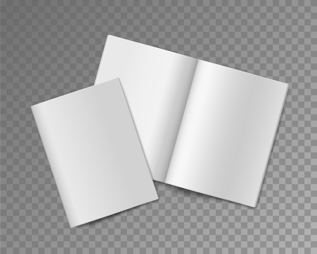 소프트 커버 책. 빈 소책자 또는 브로셔, 앨범 또는 책, 저널 또는 잡지 템플릿을 열고 닫았고 투명한 배경에서 출판 용지 시트 현실적인 벡터 모형
