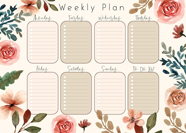 Soft cream florals and bloom weekly planner goal template to do list