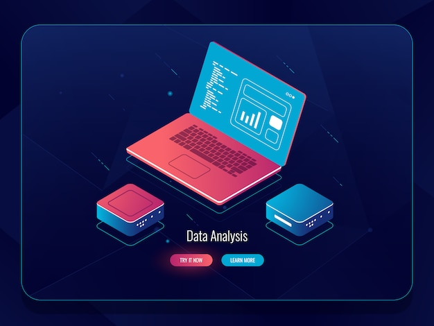 Soft development isometric, web design process, laptop with data, programming and code writing