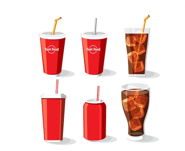 Soft drink bottle and glass, cold coke drink with ice in a glass