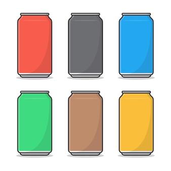 ソフトドリンク缶アイコンイラスト。飲み物のフラットアイコンの金属缶