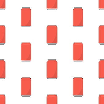 Soft drink can seamless pattern on a white background. drink theme vector illustration