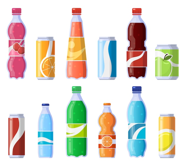 Soft drink cans and bottles. soda bottled drinks, soft fizzy canned drinks, soda and juice beverages   illustration icons set. beverage fizzy juice, soda in plastic and tin