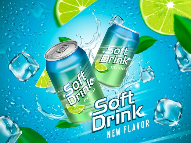 Безалкогольный напиток, содержащийся в металлических банках с элементами лимона и кубика льда, голубой фон