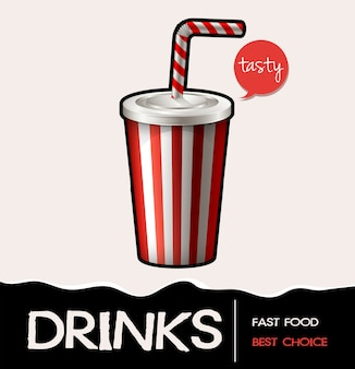 Soft drink in cup banner