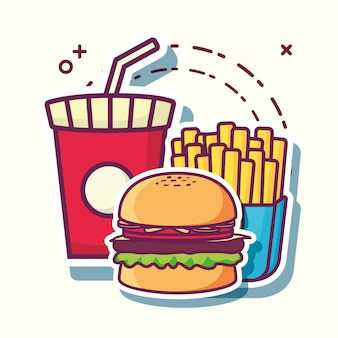 Soft drink cup with hamburger and french fries icon over white background