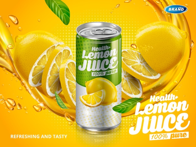 Soft drink lemon flavor contained in green metal can, cut lemon elements