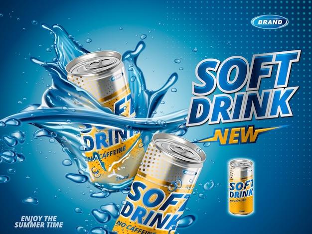 Безалкогольный напиток со вкусом лимона, содержащийся в желтой металлической банке, водный фон