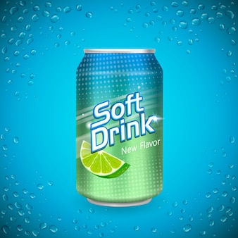 Soft drink package design isolated cool blue background 3d illustration