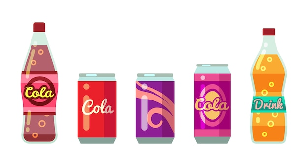 Soft drinks in bottles and cans vector illustration set