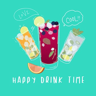Soft drinks ,cocktails with doodle style