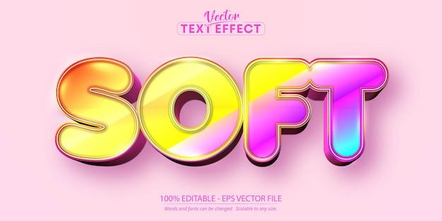 Мягкий редактируемый текстовый эффект, сладкий красочный мультяшный стиль шрифта