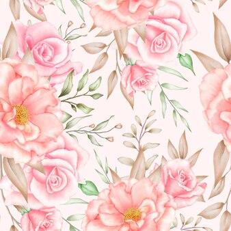 부드러운 우아한 수채화 꽃 원활한 패턴